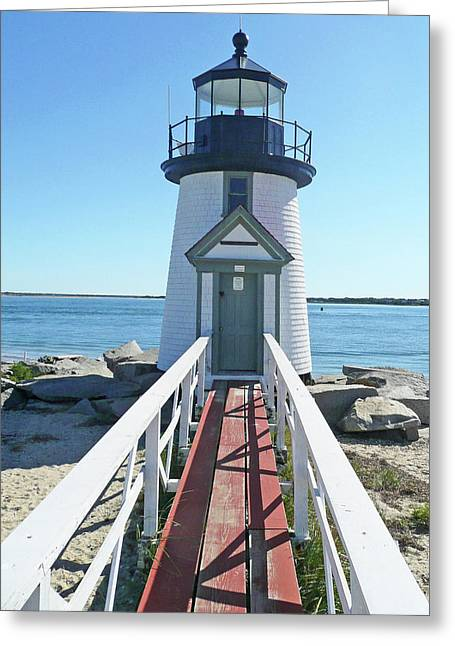 Becky Lodes Greeting Cards - Brant Point Lighthouse Greeting Card by Becky Lodes
