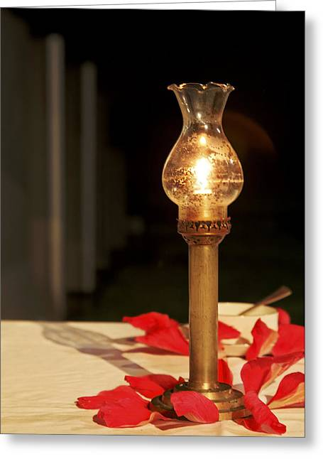 Recently Sold -  - Candle Stand Greeting Cards - Brass Candle Romance Greeting Card by Kantilal Patel