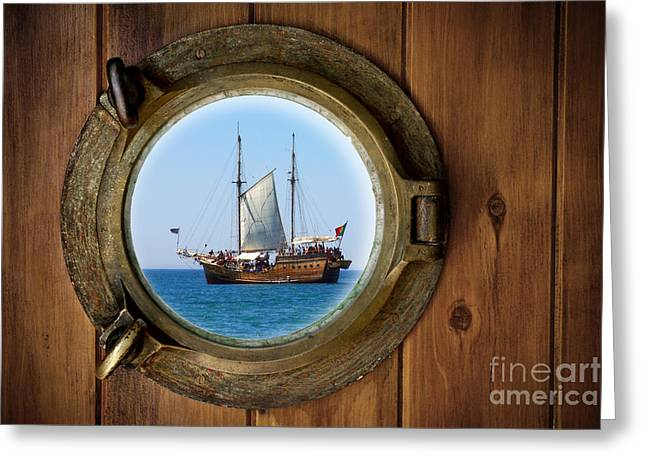 Pirate Ship Greeting Cards - Brass Porthole Greeting Card by Carlos Caetano