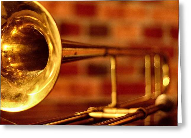 Music Greeting Cards - Brass Trombone Greeting Card by David  Hubbs