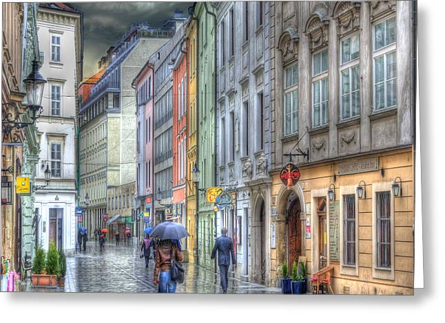 Historic Buildings Greeting Cards - Bratislava Rainy Day in Old Town Greeting Card by Juli Scalzi
