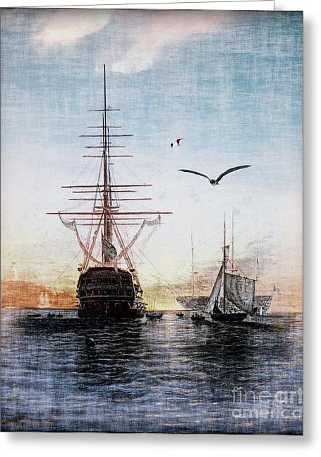 Historic Ship Greeting Cards - Brave New World Greeting Card by Lianne Schneider