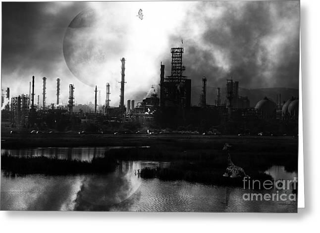 Brave New World - Version 2 - Black and White - 7D10358 Greeting Card by Wingsdomain Art and Photography
