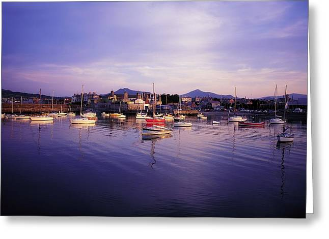 Boats In Reflecting Water Photographs Greeting Cards - Bray Harbour, Co Wicklow, Ireland Greeting Card by The Irish Image Collection