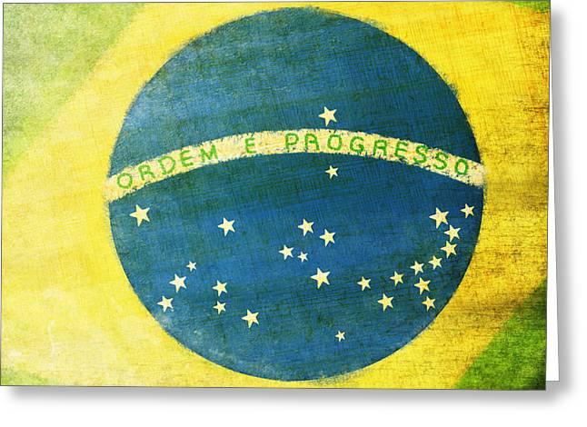 Brazil flag Greeting Card by Setsiri Silapasuwanchai