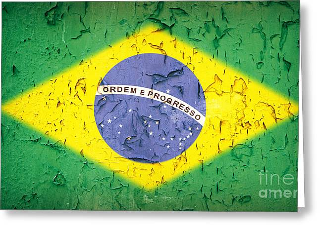 Grungy Greeting Cards - Brazil Flag vintage Greeting Card by Jane Rix