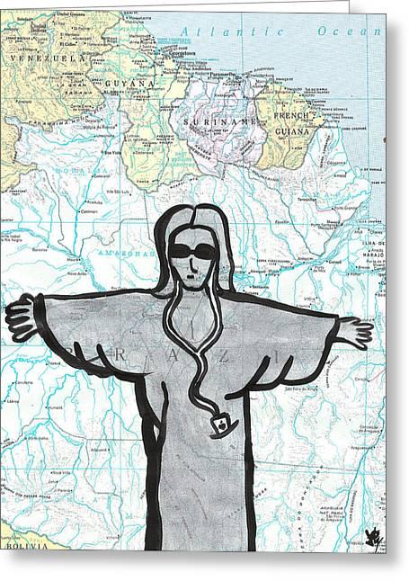 Atlas Paintings Greeting Cards - Brazil Greeting Card by Jera Sky