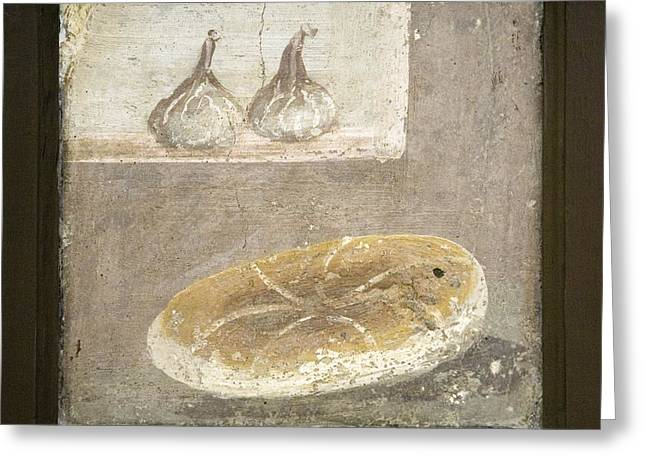 Loaf Of Bread Greeting Cards - Bread And Figs, Roman Fresco Greeting Card by Sheila Terry