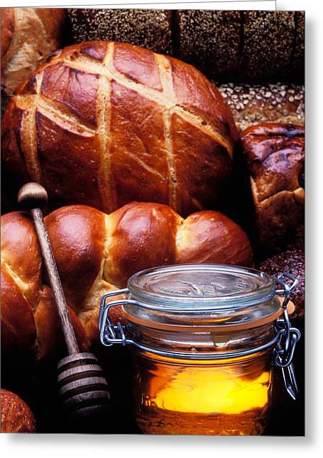 Bread Greeting Cards - Bread and honey Greeting Card by Garry Gay