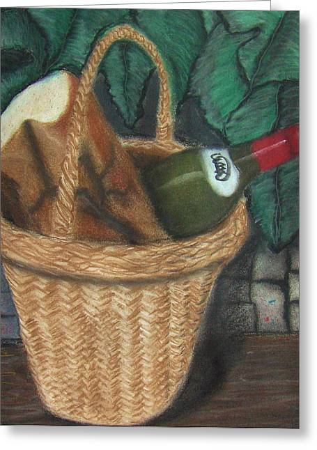 Brick Pastels Greeting Cards - Bread and Wine Greeting Card by M and L Creations