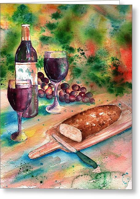 Loaf Of Bread Greeting Cards - Bread and Wine Greeting Card by Sharon Mick