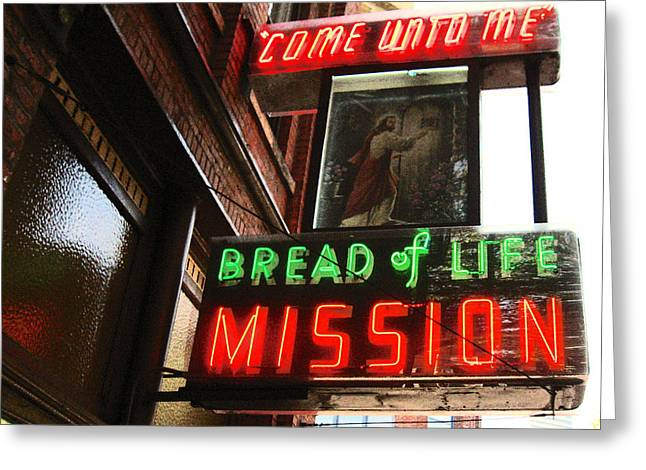 Window Of Life Greeting Cards - Bread Of Life Mission Sign Greeting Card by Kym Backland