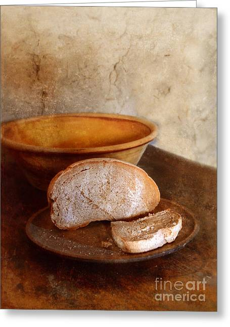 Bread On Rustic Plate And Table Greeting Card by Jill Battaglia