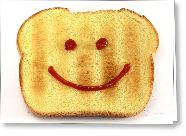 Sliced Bread Greeting Cards - Bread with happy face Greeting Card by Blink Images