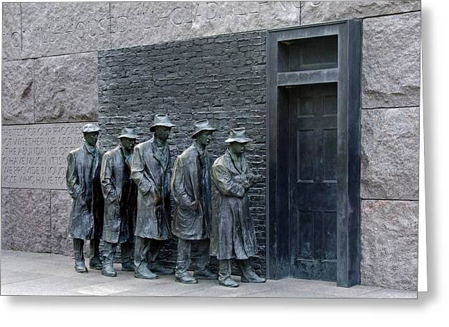 Franklin Roosevelt Photographs Greeting Cards - Breadline at the FDR Memorial - Washington DC Greeting Card by Brendan Reals