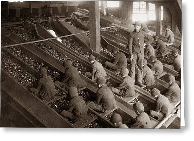 Breakers Greeting Cards - Breaker Boys Lehigh Valley Coal Co Maltby PA Near Swoyersville PA Early 1900s Greeting Card by Arthur Miller