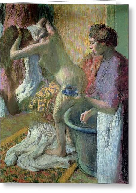 Sitting Pastels Greeting Cards - Breakfast after a Bath Greeting Card by Edgar Degas