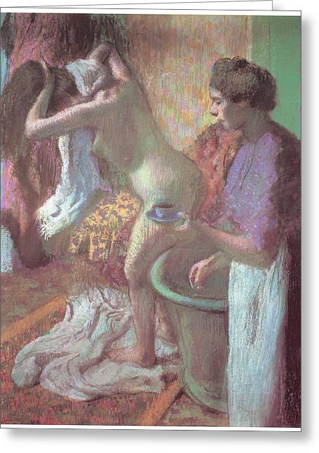 Bath Pastels Greeting Cards - Breakfast after the Bath Greeting Card by Edgar Degas