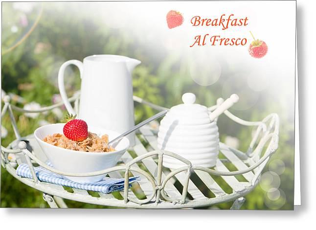 Al Fresco Greeting Cards - Breakfast Al Fresco Greeting Card by Amanda And Christopher Elwell