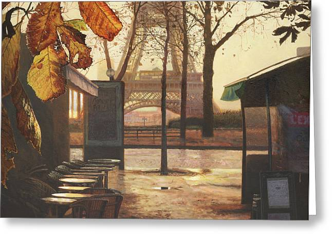 Amazing Sunset Paintings Greeting Cards - Breakfast in Paris Greeting Card by Helen Parsley