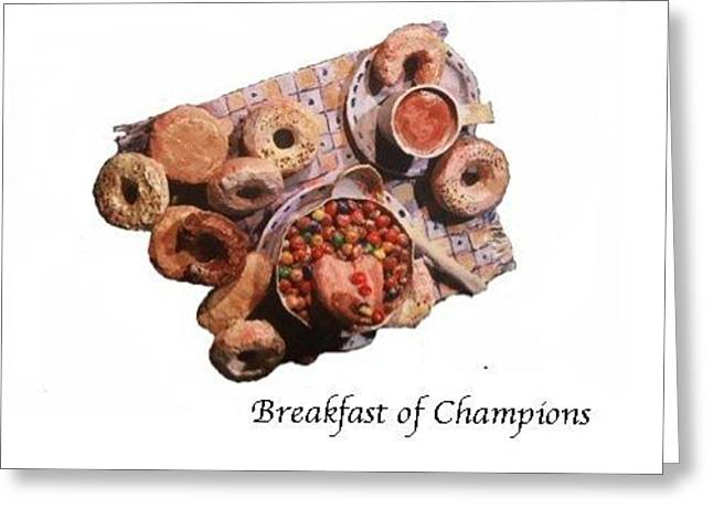 Joke Mixed Media Greeting Cards - Breakfast of champions Greeting Card by Betty OHare