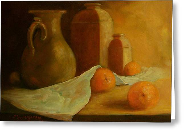 Table Cloth Drawings Greeting Cards - Breakfast Oranges Greeting Card by Tom Forgione