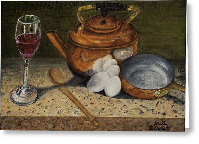 Wine-glass Greeting Cards - Breakfast Preparation Greeting Card by Gail Darnell