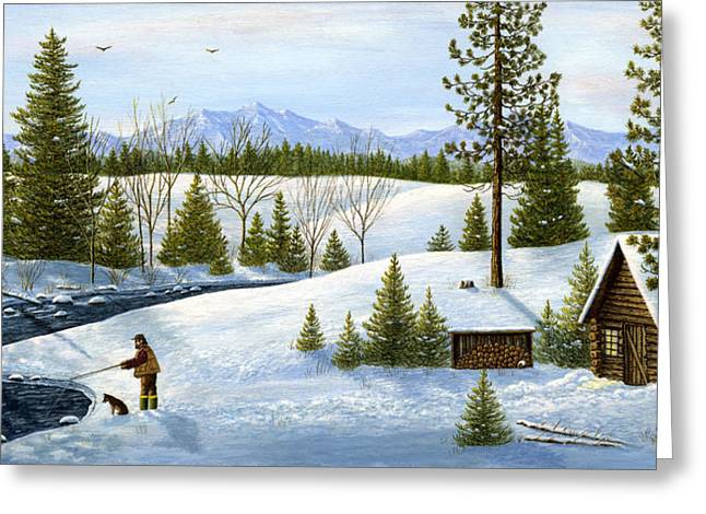 Recently Sold -  - Dogs In Snow. Greeting Cards - Breakfast Time Greeting Card by Ellen Strope