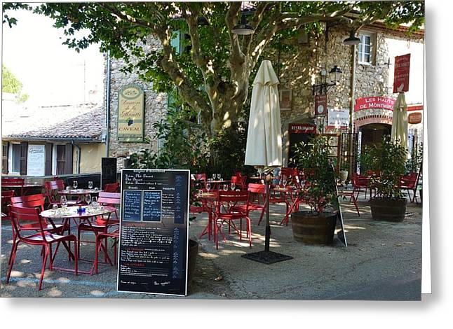 Provence Village Greeting Cards - Breakfast under the plane tree  Greeting Card by Dany  Lison