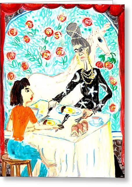 Illustrations Ceramics Greeting Cards - Breakfast with a witch Greeting Card by Sushila Burgess