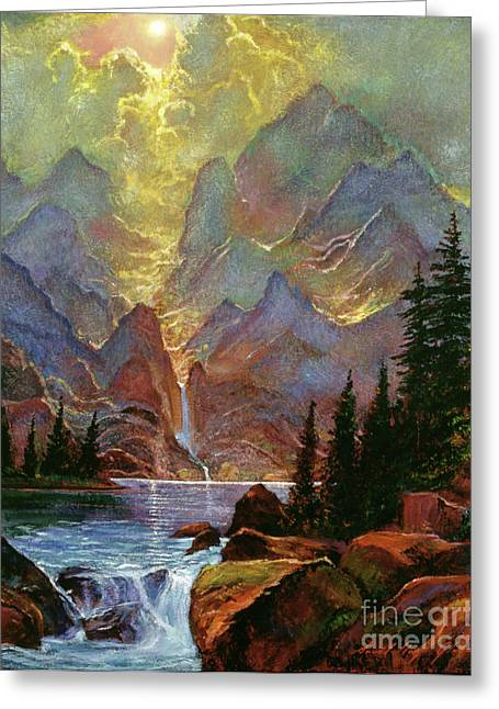 Most Paintings Greeting Cards - Breaking Sunlight Greeting Card by David Lloyd Glover