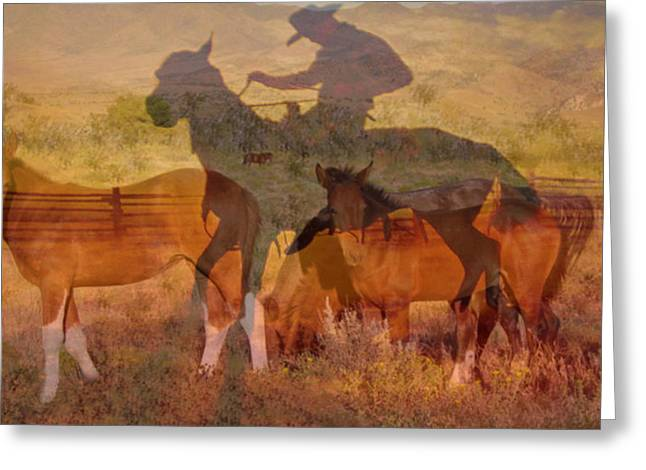 Western Pyrography Greeting Cards - Breaking sweat Busting leather Greeting Card by Mayhem Mediums