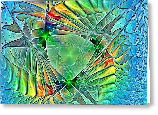 Geometric Digital Art Greeting Cards - Breaking the Ice revised Greeting Card by Amanda Moore