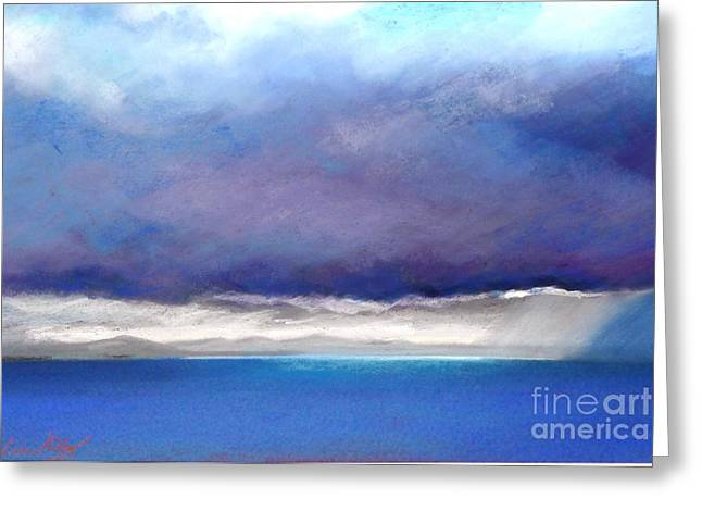 Storm Clouds Pastels Greeting Cards - Breaking through the storm Greeting Card by Nadine Kelly