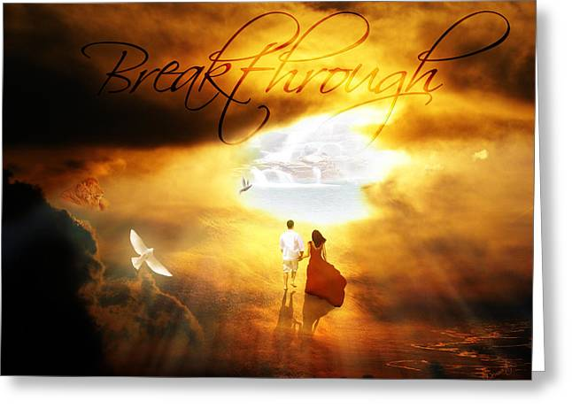 Sun Breakthrough Greeting Cards - Breakthrough Greeting Card by Art By Demarti