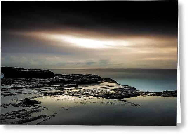 Seascape With Clouds Greeting Cards - Breakthrough Greeting Card by Mark Lucey