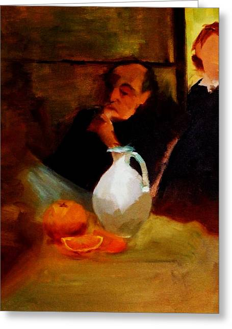 Chin On Hand Paintings Greeting Cards - Breaktime with Oranges and Milk Jug Man Deep in Philosophical Thought with Mysterious Boy Servant Greeting Card by M Zimmerman MendyZ