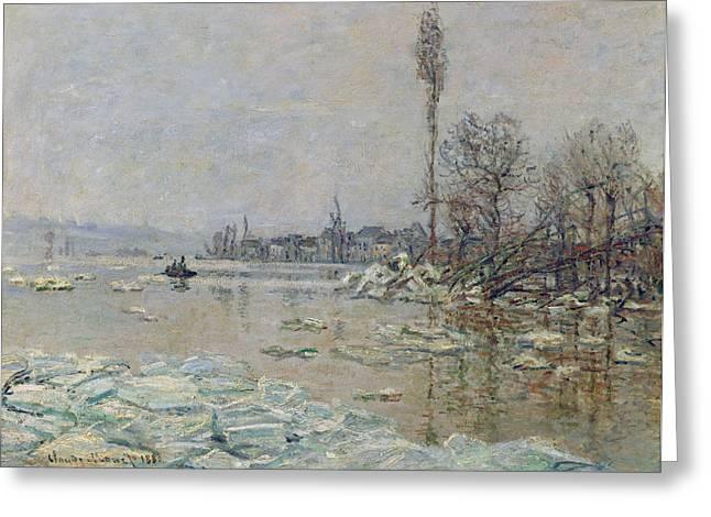 Breakup Greeting Cards - Breakup of Ice Greeting Card by Claude Monet