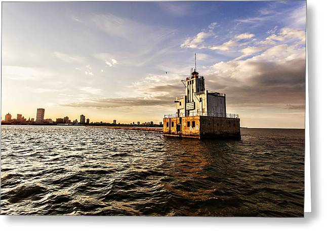 Cj Greeting Cards - Breakwater Lighthouse Greeting Card by CJ Schmit