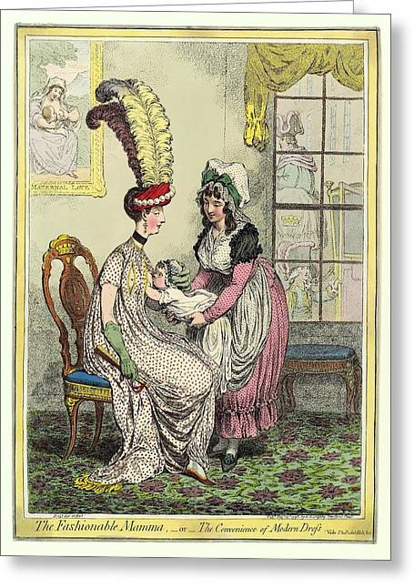 Slit Dress Greeting Cards - Breastfeeding, 18th-century Caricature Greeting Card by Miriam And Ira D. Wallach Division Of Art, Prints And Photographsnew York Public Library