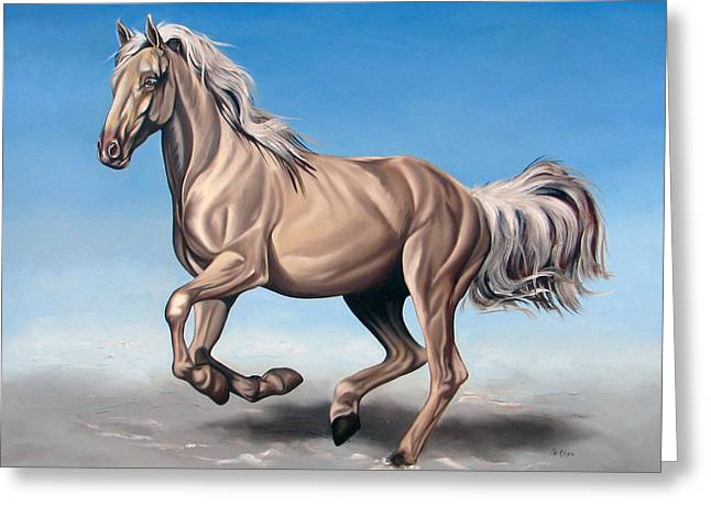 Horses Paintings Greeting Cards - Breeze Greeting Card by Ilse Kleyn