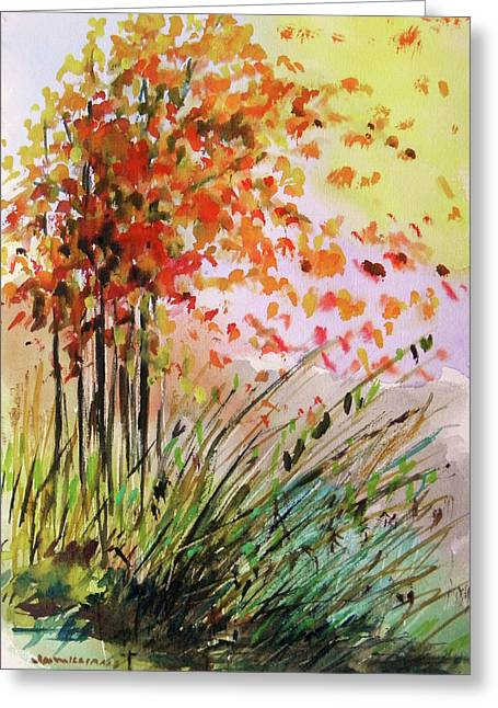 Fall Grass Drawings Greeting Cards - Breezes Greeting Card by John  Williams