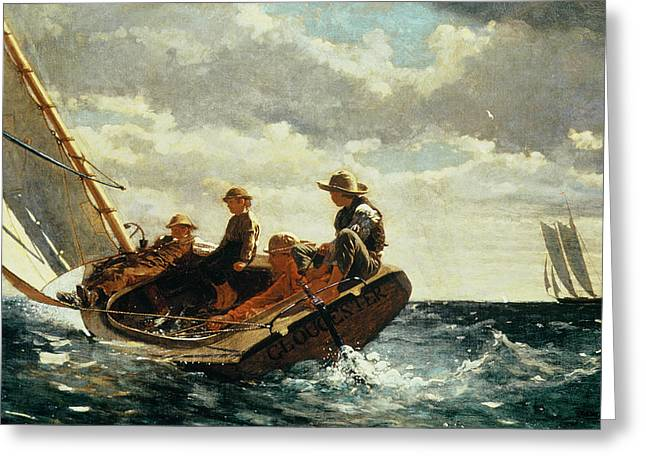 Boats In Water Greeting Cards - Breezing Up Greeting Card by Winslow Homer