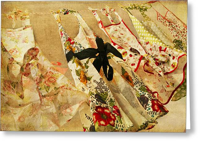 Apron Greeting Cards - Breezy Greeting Card by Rebecca Cozart