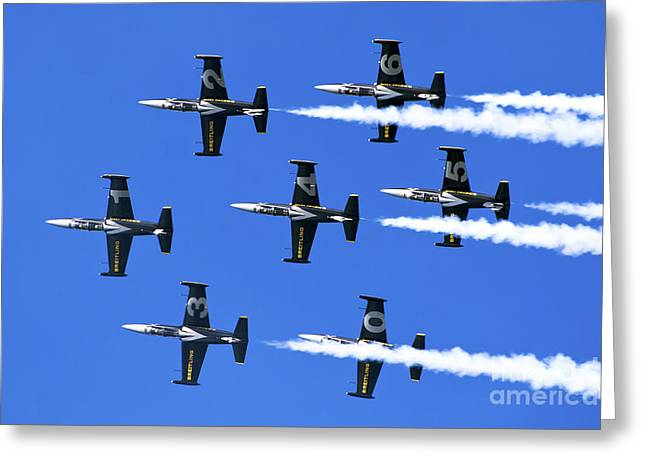 Single-engine Photographs Greeting Cards - Breitling air display team L-39 Albatross Greeting Card by Nir Ben-Yosef