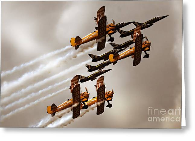 Floating Girl Greeting Cards - Breitling Jet Team with Wingwalkers Greeting Card by Angel  Tarantella