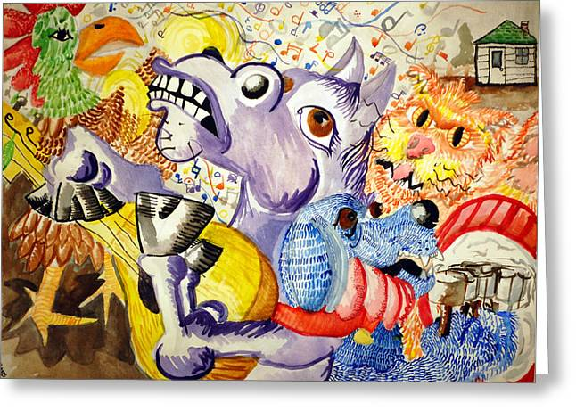 Jame Hayes Paintings Greeting Cards - Bremen Town Musicians Greeting Card by Jame Hayes