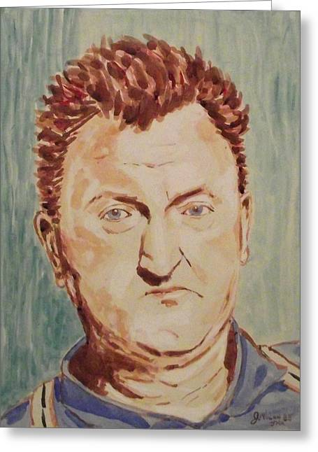 Author Mixed Media Greeting Cards - Brendan Behan Greeting Card by John  Nolan