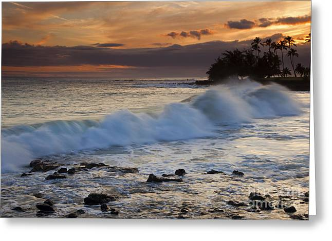 Poipu Greeting Cards - Brennecke Waves Sunset Greeting Card by Mike  Dawson