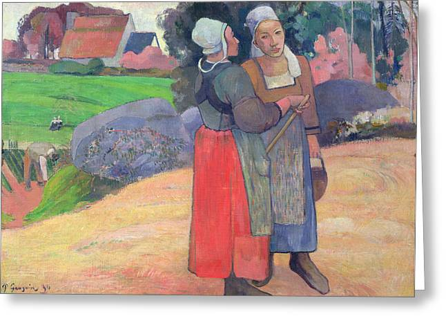 Pail Greeting Cards - Breton Peasants Greeting Card by Paul Gauguin